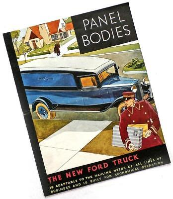 1932 FORD Truck: PANEL BODIES advertising brochure folder, color