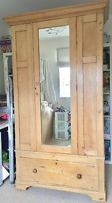 Antique Victorian pine single wardrobe with mirror and bottom drawer BEAUTIFUL