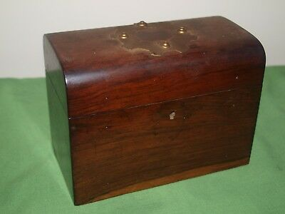 Vintage Mahogany Tea Caddy with Copper Banding