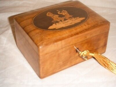 Antique Victorian Walnut Inlaid Marquetry Trinket Jewellery Box