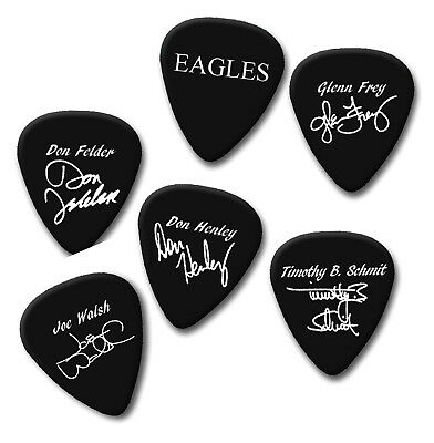 Eagles printed signature & logo plus members Guitar Pick Plectrums Medium 0.71