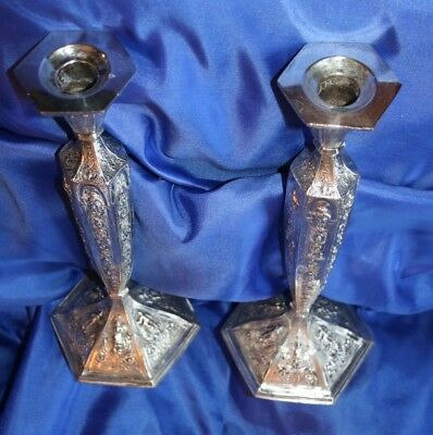 Gorgeous, Detailed Pair of Silver Plated Repousse Candle Sticks - Dutch 1800's