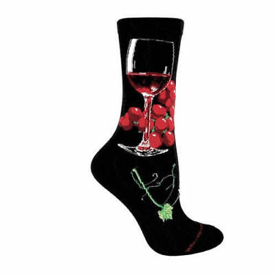 Red Wine Glass Lightweight Stretch Cotton Adult Socks