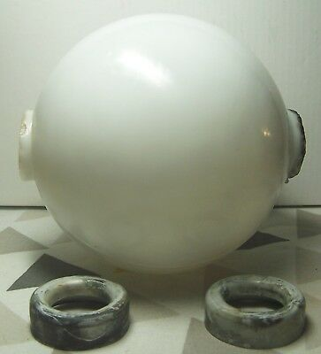 """Antique White Milk Glass Lightning Rod Ball with 1"""" dia. End Caps  - 4.5"""" x 5"""""""