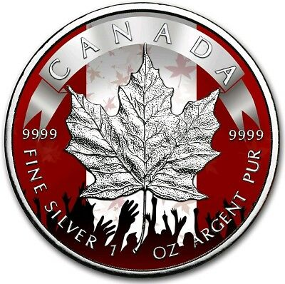 2019 1 Oz Silver Canada $5 PATRIOTIC MAPLE LEAF Coin..