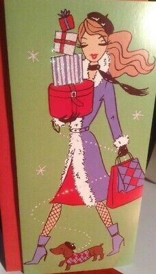 Vintage glittered Christmas Card Pretty Girl With Dog Unused+env
