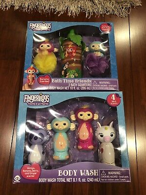 Fingerlings 4-Piece Body Wash Gift Set  w/ 4 Wild Scents And Bath Time Friends