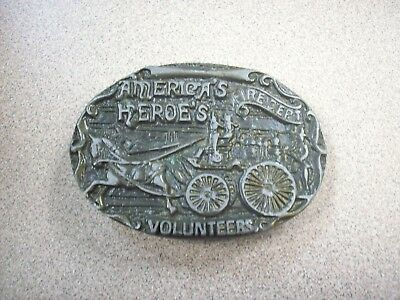 "Vintage ""Americas Heros"" Fire Dept Belt Buckle Solid Brass 3 1/4"" by 2 1/4'"