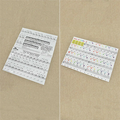 Piano Keyboard Sticker Staff Ukulele Musical Alphabet Removable 3 in 1 Stickers