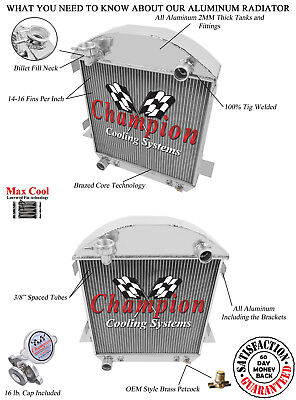 2 Row Ace Champion Radiator for 1942-1948 Ford Coupe Chevy Configuration
