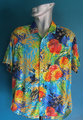 Jams World Men's Shirt Size Large (Red.blue.black.turq.green.yellow Flowers)