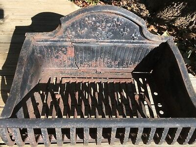 ANTIQUE FRENCH VICTORIAN CAST IRON FIREPLACE WOOD / COAL BOX GRATE Fleur-de-Lis