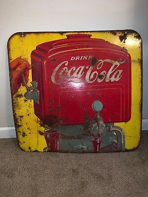 Vintage 1940's Coca-Cola Double Sided Porcelain Fountain Sign No Reserve!