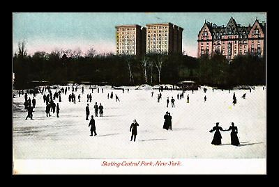 Dr Jim Stamps Us Skating Central Park New York View Postcard