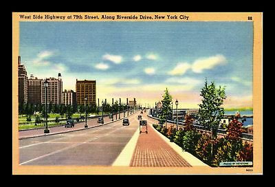 Dr Jim Stamps Us West Side Highway Riverside Drive New York City Linen Postcard