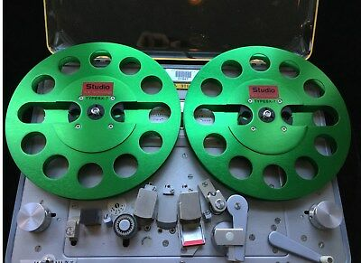 "ONE PAIR   New  7"" Anodized Aluminum  metal Reel to Reels  Green"