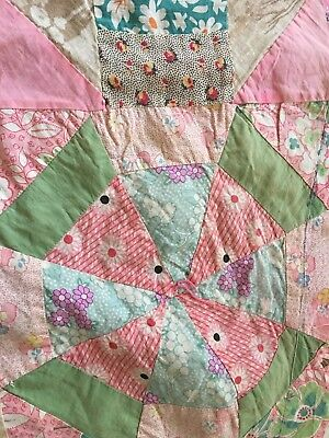 Vintage Feed Sack Quilt Top ~ hand & machine pieced - interesting patterns