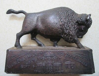 ANTIQUE Political President William McKinley 1901 lead Bison BUFFALO Paperweight