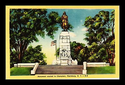 Dr Jim Stamps Us Champlain Monument Plattsburg New York Linen Postcard