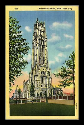 Dr Jim Stamps Us Riverside Church New York City Linen View Postcard