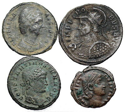 4 Late Roman bronze coins
