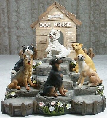 Dog House Display Stand w 6 Dog Miniature Poly Resin DOGPACK 9319844503891 NEW