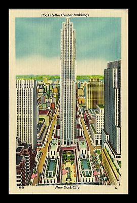 Dr Jim Stamps Us Rockefeller Center Buildings New York City Linen Postcard