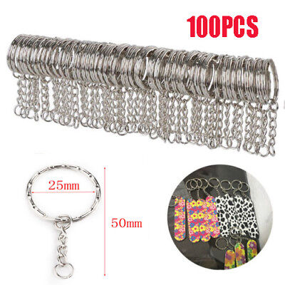 Wholesale 100 Pcs DIY Key Rings Key Chain With Link Chain Key Holder 25mm White
