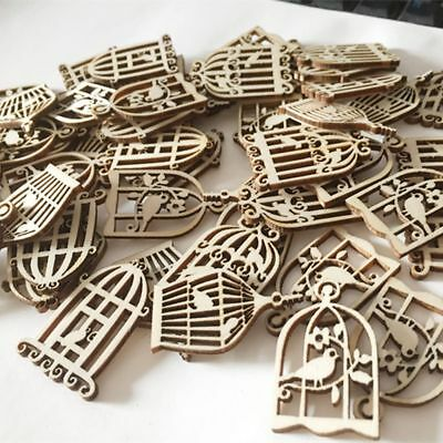 50Pcs Birdcage Wood Scrapbooking Wind Pieces Chime Hanging Decorations Carft DIY