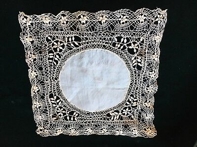 """Gorgeous Vintage French Silk And Bobbin Lace Wedding  Handkerchief 10"""" Square"""