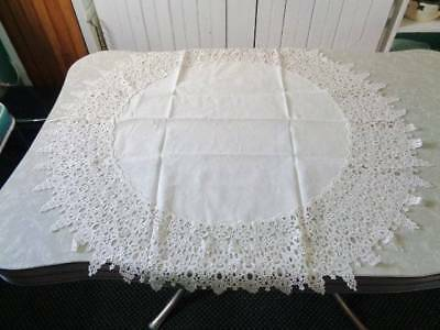 Small, Round Table Cloth/topper W/lace Trim