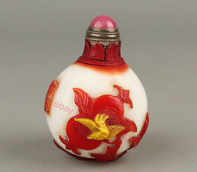 Chinese Exquisite Handmade squirrel pomegranate Glass snuff bottle