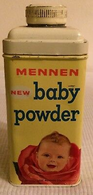 Vintage Mennen Baby Powder Tin With Face In Rose