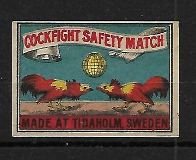 Cockfight Matchbox Label - Made In Sweden