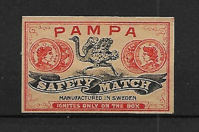 Pampa Safety Match - Matchbox Label - Made In Sweden