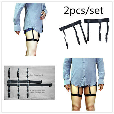 Men Shirt Stays Elastic Garters Belt Holder Non-slip Locking Clip Garters Strap