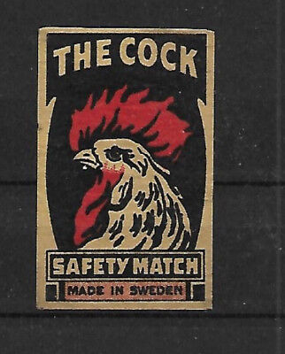 """"""" The Cock """" Safety Matches Made In Sweden Matchbox Label"""