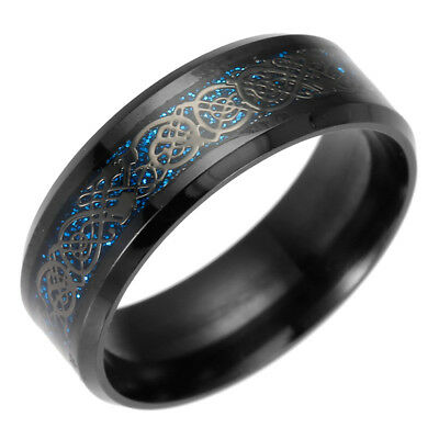 Fashion Celtic Dragon Titanium Stainless Steel Men Wedding Black Ring Sz7