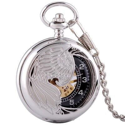 Antique Silver Phoenix Windup Mechanical Retro Pocket Watch Pendant Fob Chain