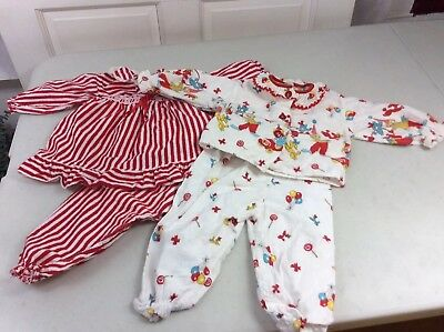 Vintage Flannel Baby Pajamas Striped Circus Print 18-24 months