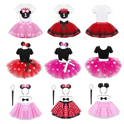 Infant Baby Girls Mouse Fancy Dress Dance Tutu Skirt Headband Party Outfits