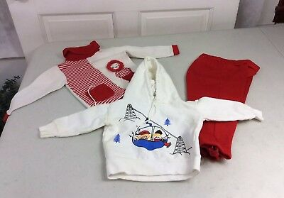 Vintage Baby Retro Red Spandex Outfits Circa 1970's 24 months