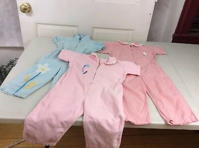 Vintage Baby Jumpsuit Rompers Lot of Three 9-12 Months