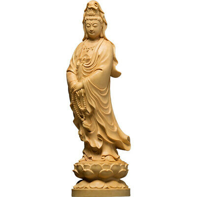 Wood Carved Buddha Statue Buddhism kwanyin Sculpture Collection Art Antique 12cm