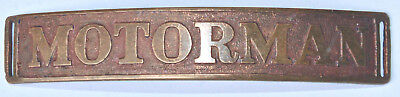 Early Motorman Badge, All Brass, S. D. Childs & Co., Trolley, Traction