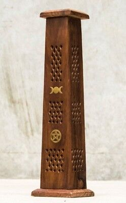 Witchy Boho Triple Moon Pentacle Incense Tower Holder Home Decor Mango Wood
