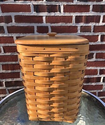Longaberger Small Waste Basket With Lid 1998