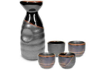 Mino Ware Traditional Japanese Sake Set Bottle and 4 Cups Black Kuro Oribe