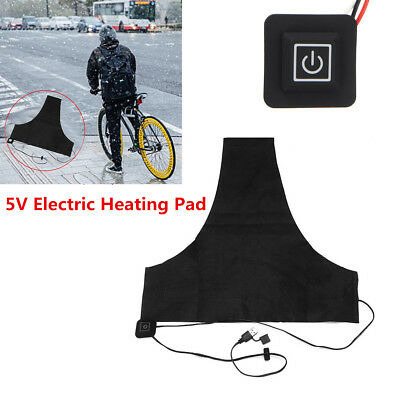 5V Black Motorcycle Vest Heated Jacket Mat USB Electric Heating Pad Universal