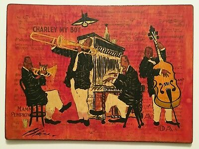 sgd Blaine / Jazz Age collage painting black musicians instruments music sheets